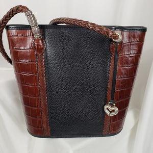 Brighton Black Brown Structured Shoulder Bag